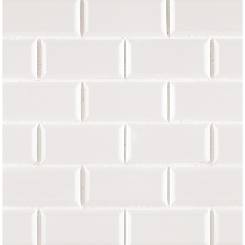 Staggered Beveled 2 X 4 Porcelain Subway Tile In White