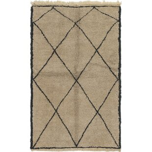 Best Reviews One-of-a-Kind Ilfracombe Hand-Knotted 3'10 x 6'6 Wool Dark Beige/Black Area Rug By Isabelline