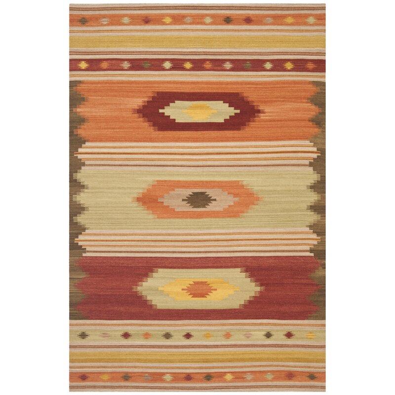 Union Rustic Bennett Handwoven Flatweave Wool Red Orange Green Area Rug Reviews Wayfair