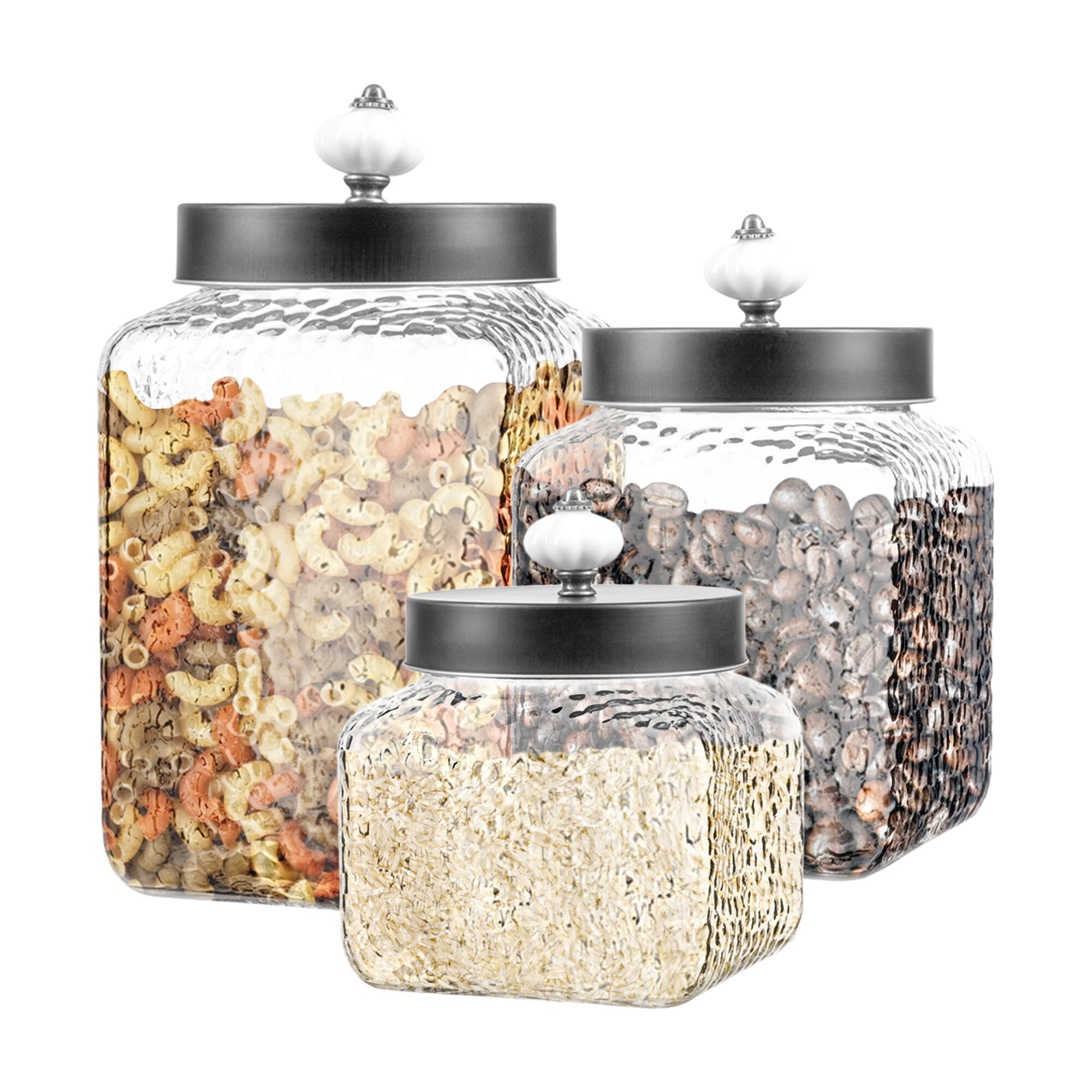 Charlton Home Hammered 3 Piece Kitchen Canister Set Reviews Wayfair