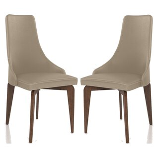 Fick Genuine Leather Upholstered Dining Chair Set of 2