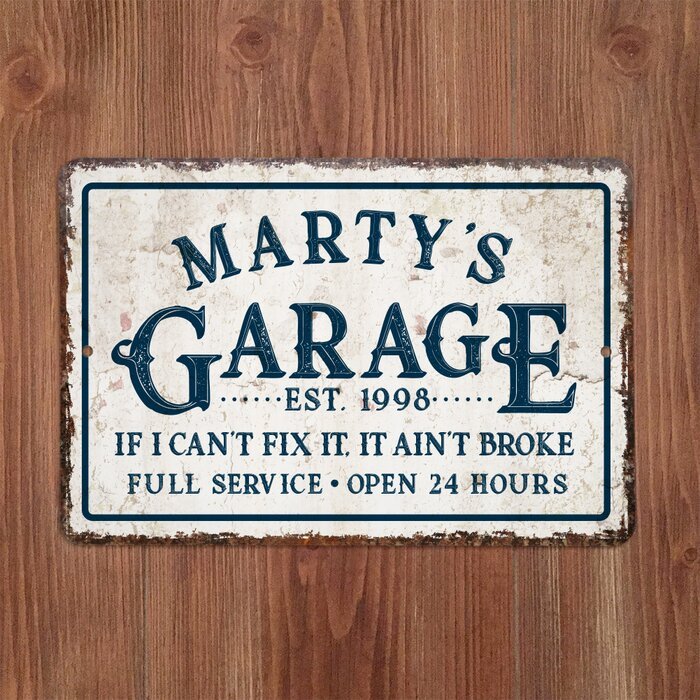 Personalized Distressed Vintage Look Garage Metal Sign Wall Décor