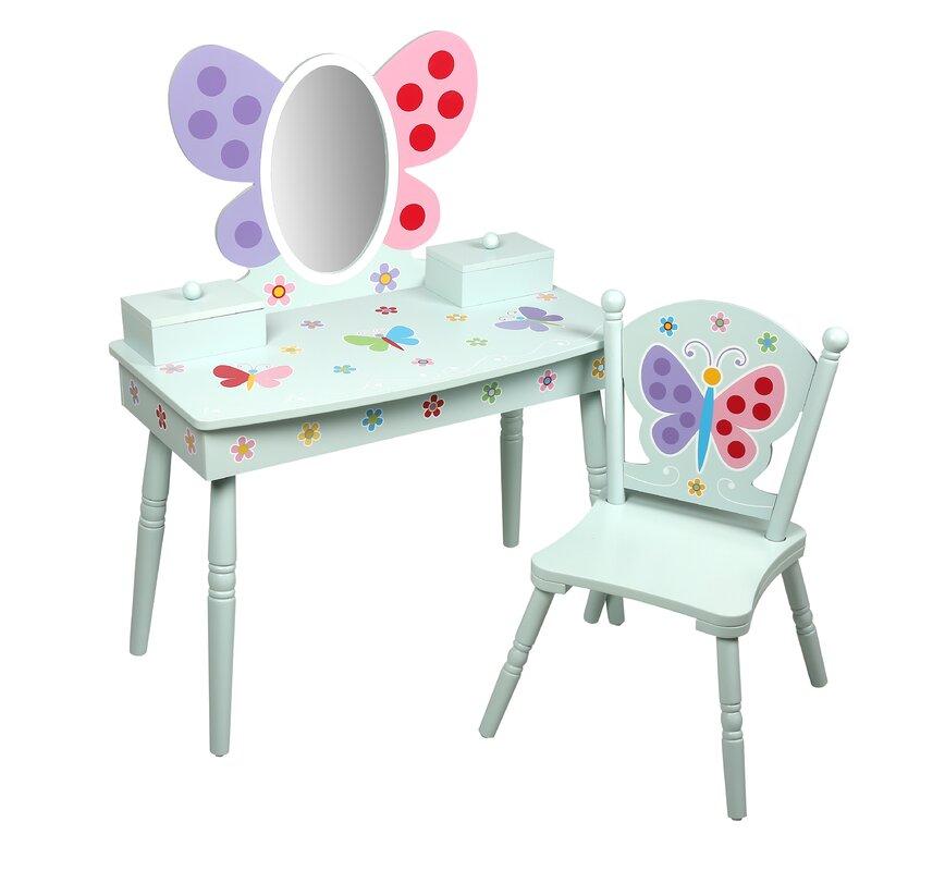 Olive Butterfly Garden Kids Vanity Set With Mirror
