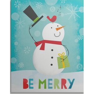 'Merry Snowman II' by Lamai McCartan Textual Art on Wrapped Canvas