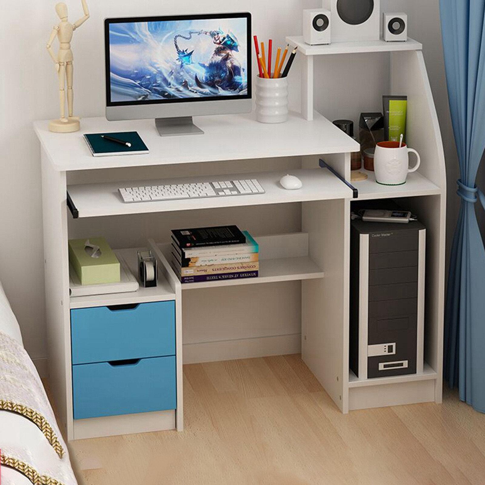 Inbox Zero Simpleness Laptop Computer Desk With Drawer Shelf Office Home Modern Small Desk