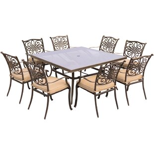 Carleton 9 Piece Square Glass Top Dining Set with Cushions