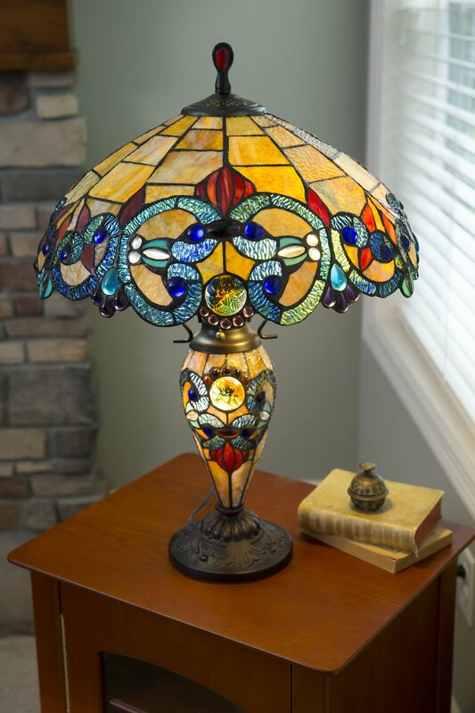 River of goods victorian tiffany style stained glass double lit 26 victorian tiffany style stained glass double lit 26 table lamp aloadofball Gallery