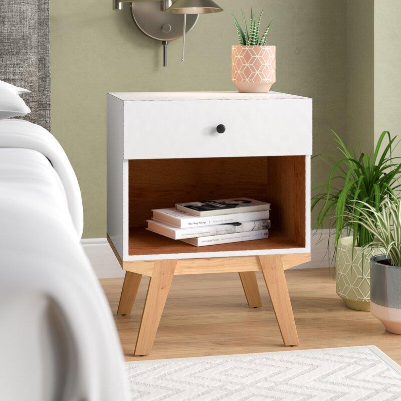 Amoroso 1 - Drawer Solid Wood Nightstand