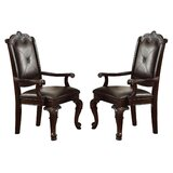 Dearburne Tufted Solid Wood Arm chair in Brown (Set of 2) by Astoria Grand