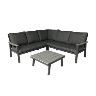 Arocho Outdoor 4 Piece Sectional Seating Group with Cushions