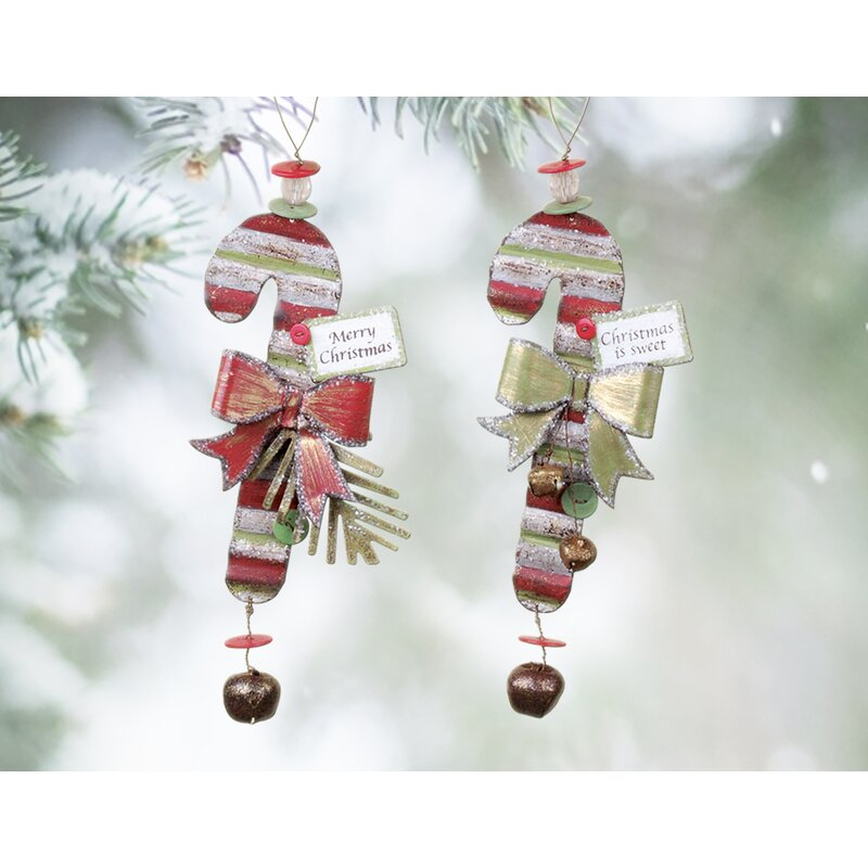 The Holiday Aisle 2 Piece Christmas Candy Cane Holiday Shaped Ornament Set Reviews Wayfair