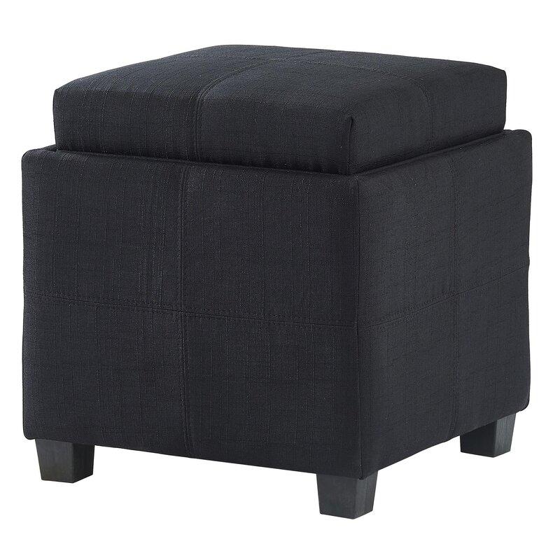 Pimentel Fabric Storage Cube Reversible Tray Lid Ottoman