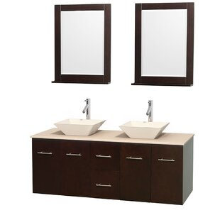 Centra 60 inch  Wall-Mounted Double Bathroom Vanity Set with Mirror