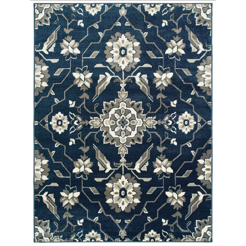 Image of Dartington Borderless Traditional Blue/Grey Area Rug up to 10% off
