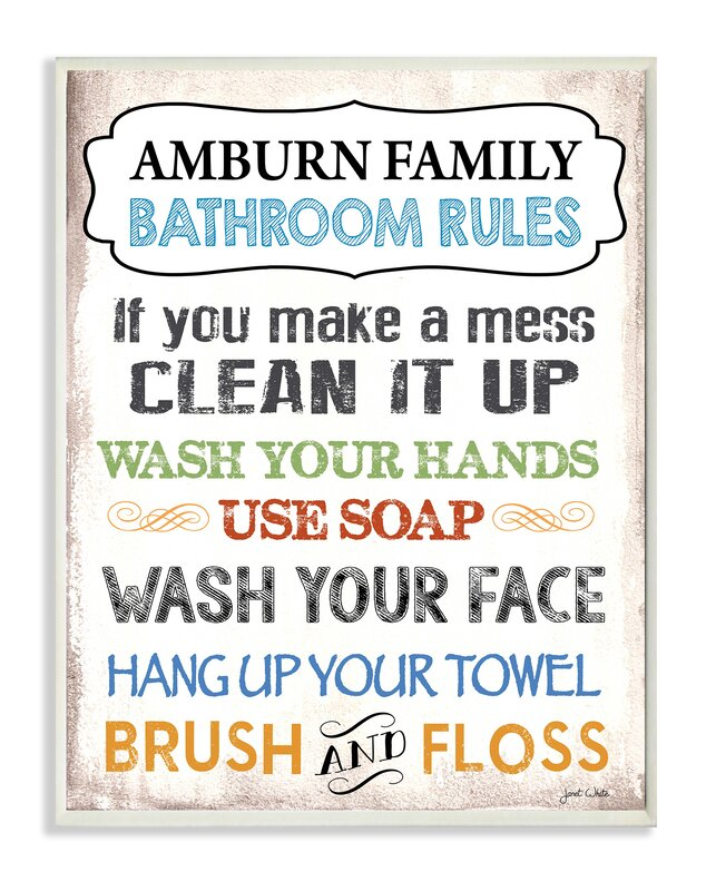 personalized bathroom rules rainbow by janet white textual art plaque