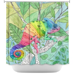 Rainbow Chameleon Single Shower Curtain