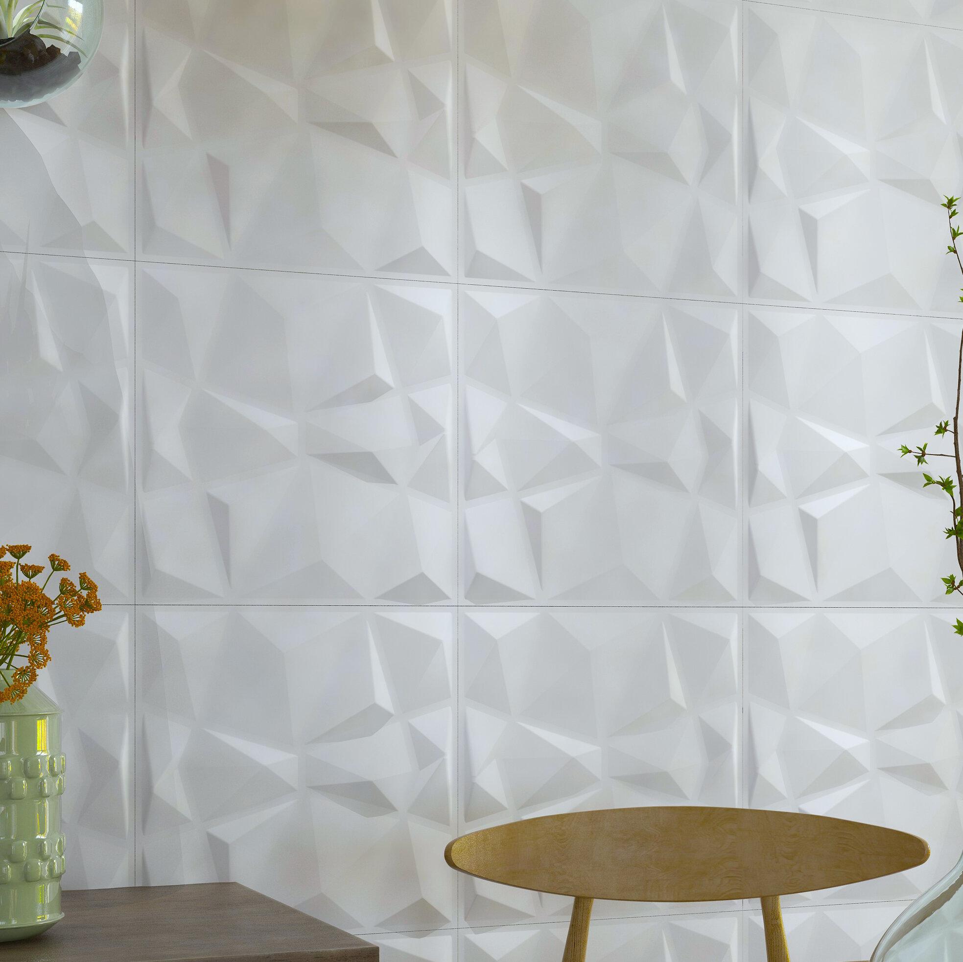 Diamond 19 7 L X 19 7 W 3d Embossed Paintable 48 Panel Wallpaper Panel