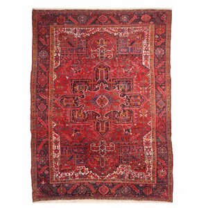 Glyndon Hand-Knotted Wool Red Area Rug