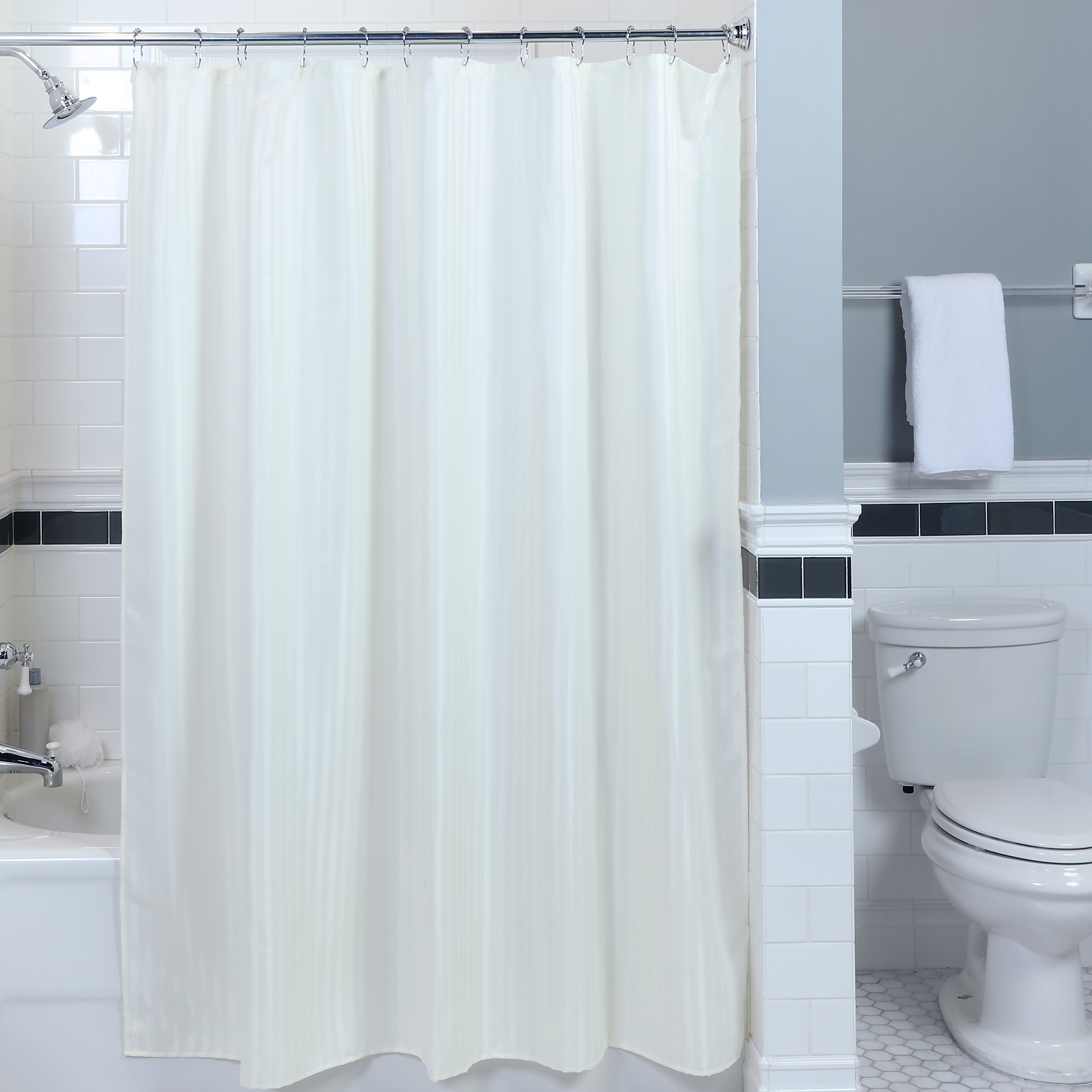 Satin Stripe Fabric Single Shower Curtain