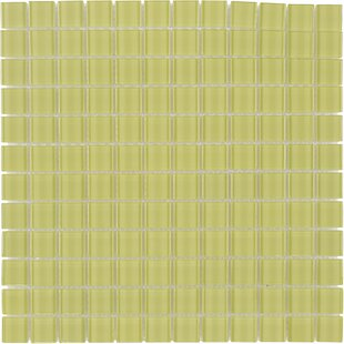 Stacked Squares 1 inch  x 1 inch  Glass Mosaic Tile in Glossy Yellow