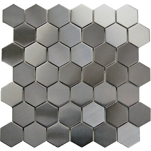 Hex 2 inch  x 2 inch  Metal Mosaic Tile in Gray
