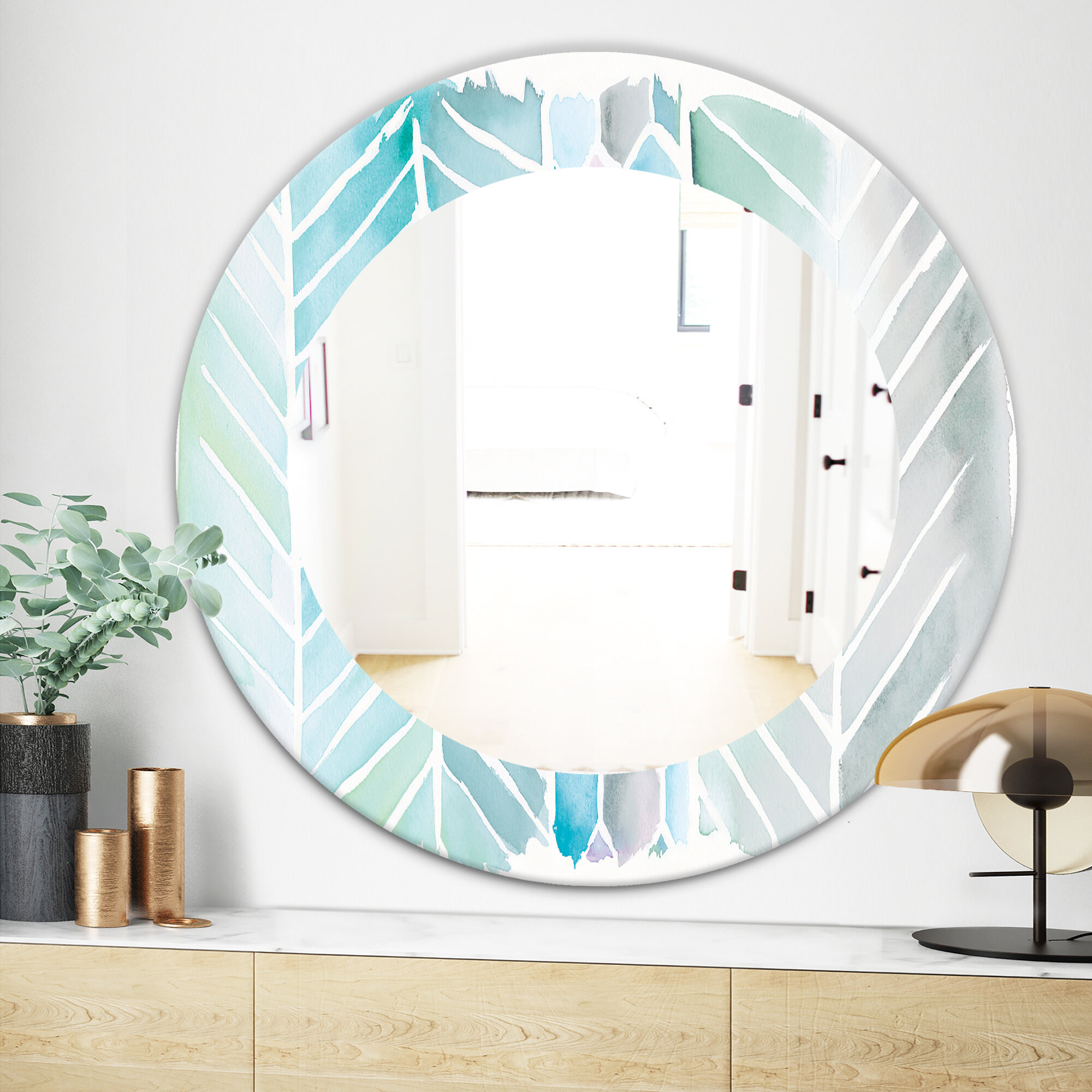 East Urban Home Watercolor Geometric Swatch Element Iv Wall Mirror