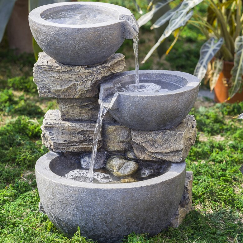 Jeco Inc Resin Fibreglass Rock And Pot Water Fountain Wayfair Ca