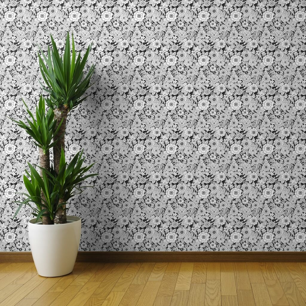 Ebern Designs Monochrome Floral Peel And Stick Removable Wallpaper Floral Florals Colouring Book Black And White Floral Flower Modern Floral Flower Colouring Book Woven Textured Self Adhesive Wallpaper Panel Roll Or Sample