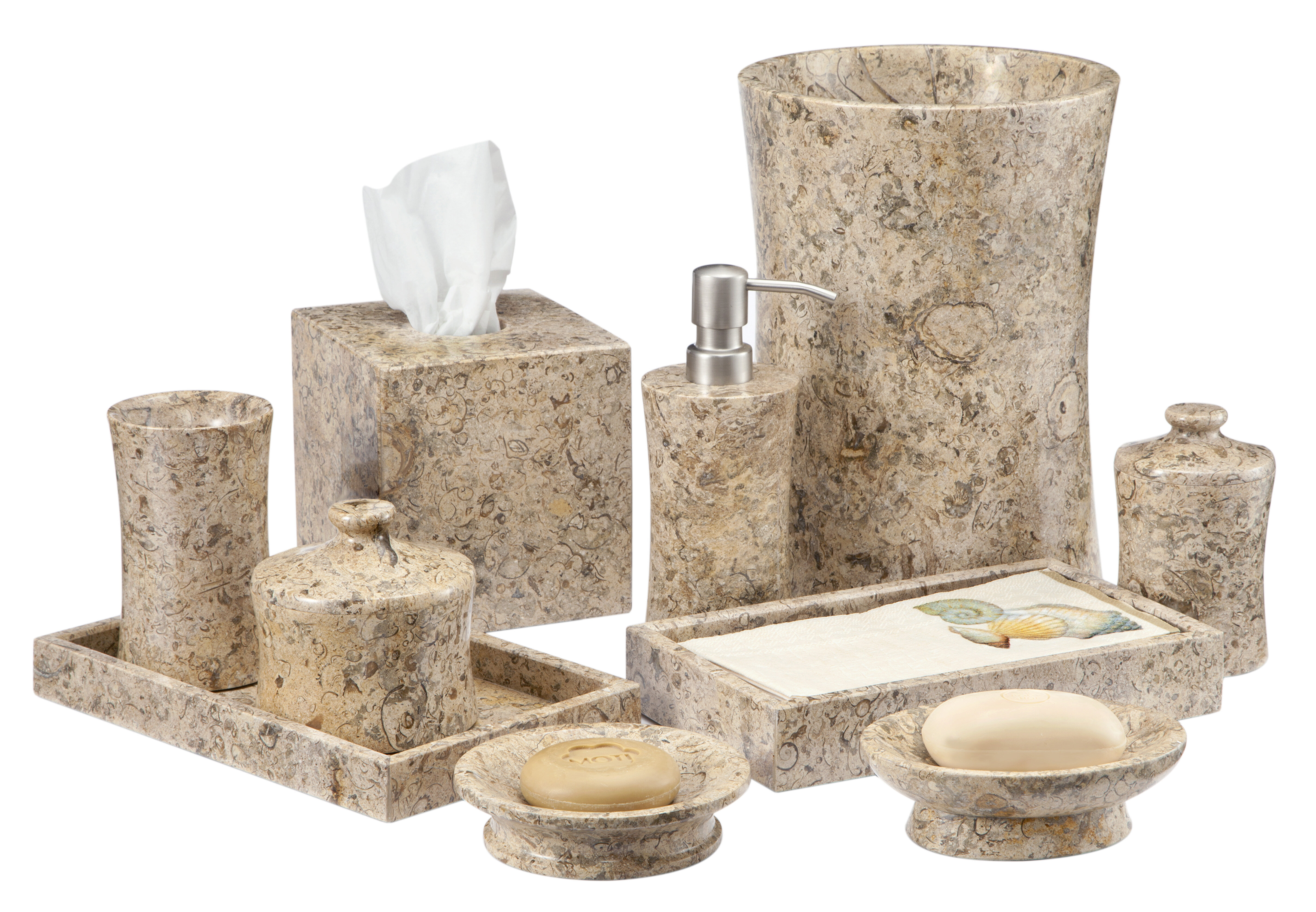 Edinburgh Fossil Stone 7 Piece Bathroom Accessories Set