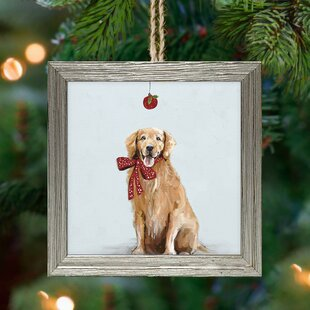festive golden retriever ornament accessory