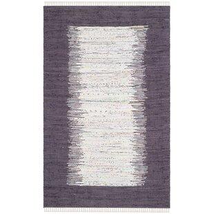 Bargain Ona Hand-Woven Cotton Purple/White Area Rug ByBeachcrest Home