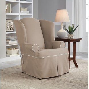 Serta Relaxed Fit Twill Wingback Chair Slipcover