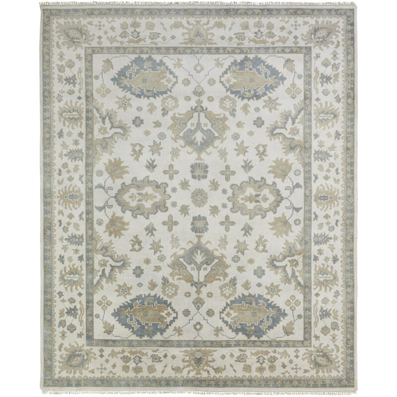 Darby Home Co Lillie Oriental Hand Knotted Wool Ivory Area Rug Reviews Wayfair