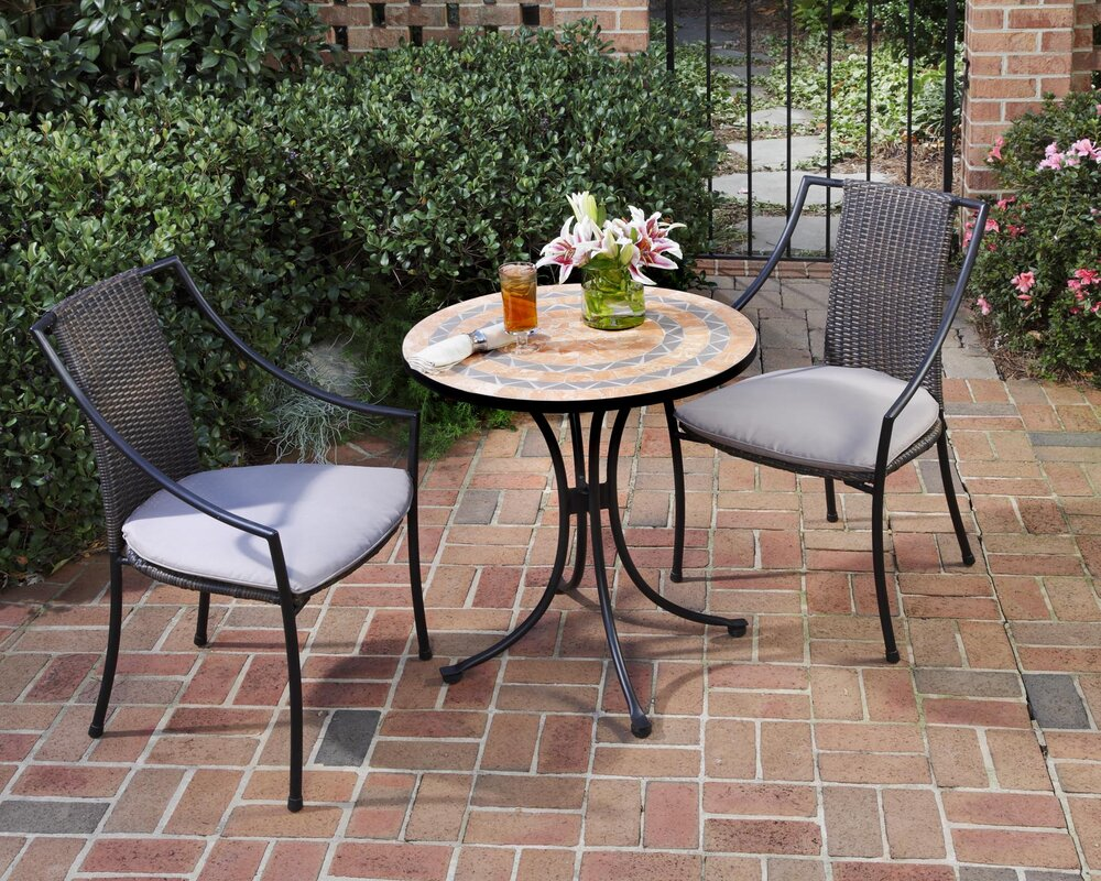 home styles terra cotta 3 piece bistro set with cushions & reviews