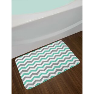 Chevron Pattern Geometric Wavy Zigzag Herringbone Stripes Illustration Non-Slip Plush Bath Rug