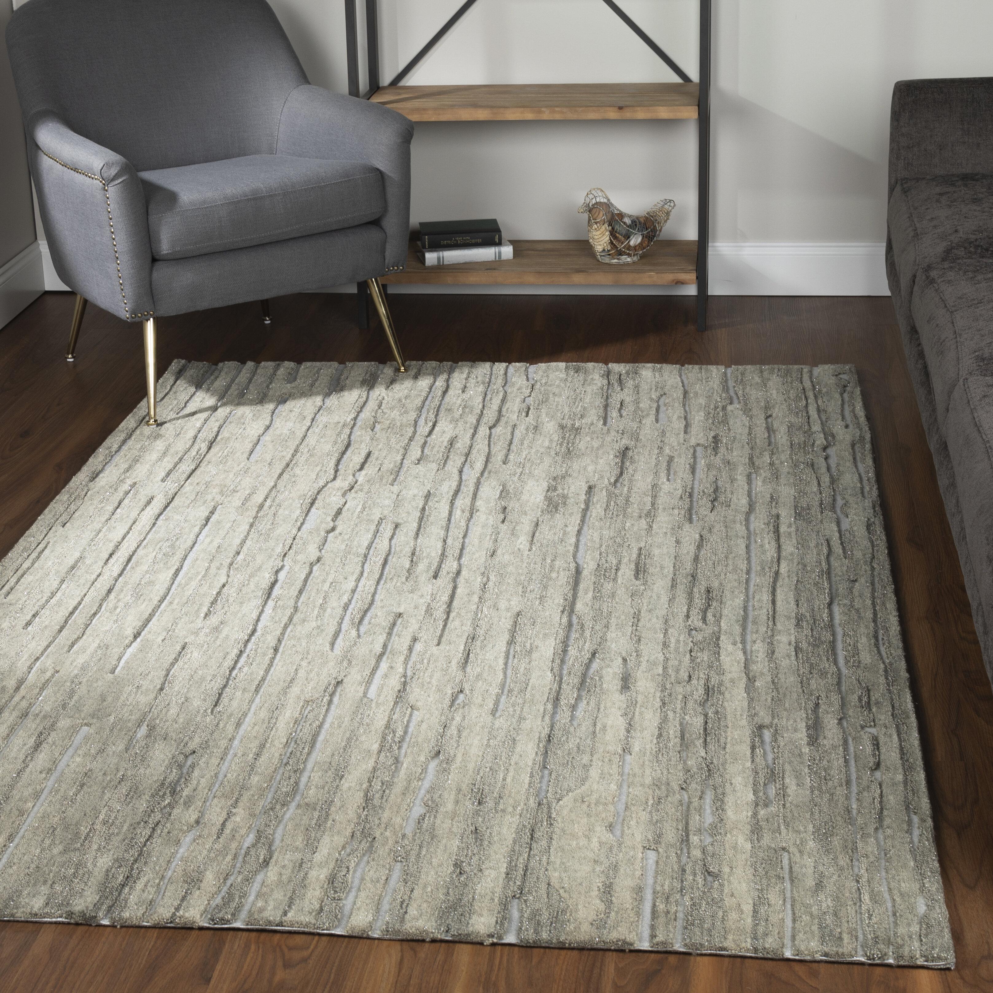 Wrought Studio Maskell Handmade Tufted Wool Silver Area Rug Wayfair