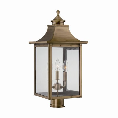 17 Stories Dillion Outdoor 3 Light Lantern Head Finish Aged Brass