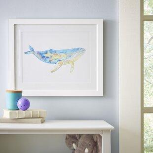 'Humpback Whale Watercolor Sea Mammals' Framed Print
