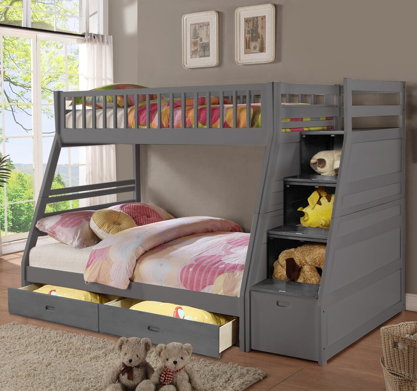 walter twin over full bunk bed with drawers