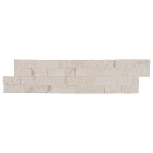 Freska Stacked Stone 6 inch  x 24 inch  Limestone Splitface Tile in White