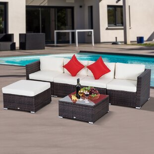 Barnett 6 Piece Rattan Sectional Set with Cushions