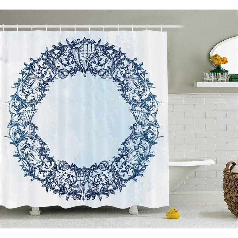 Highland Dunes Roxy Floral Circle Zen Shower Curtain
