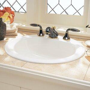 Rondalyn Ceramic Circular Drop-In Bathroom Sink with Overflow