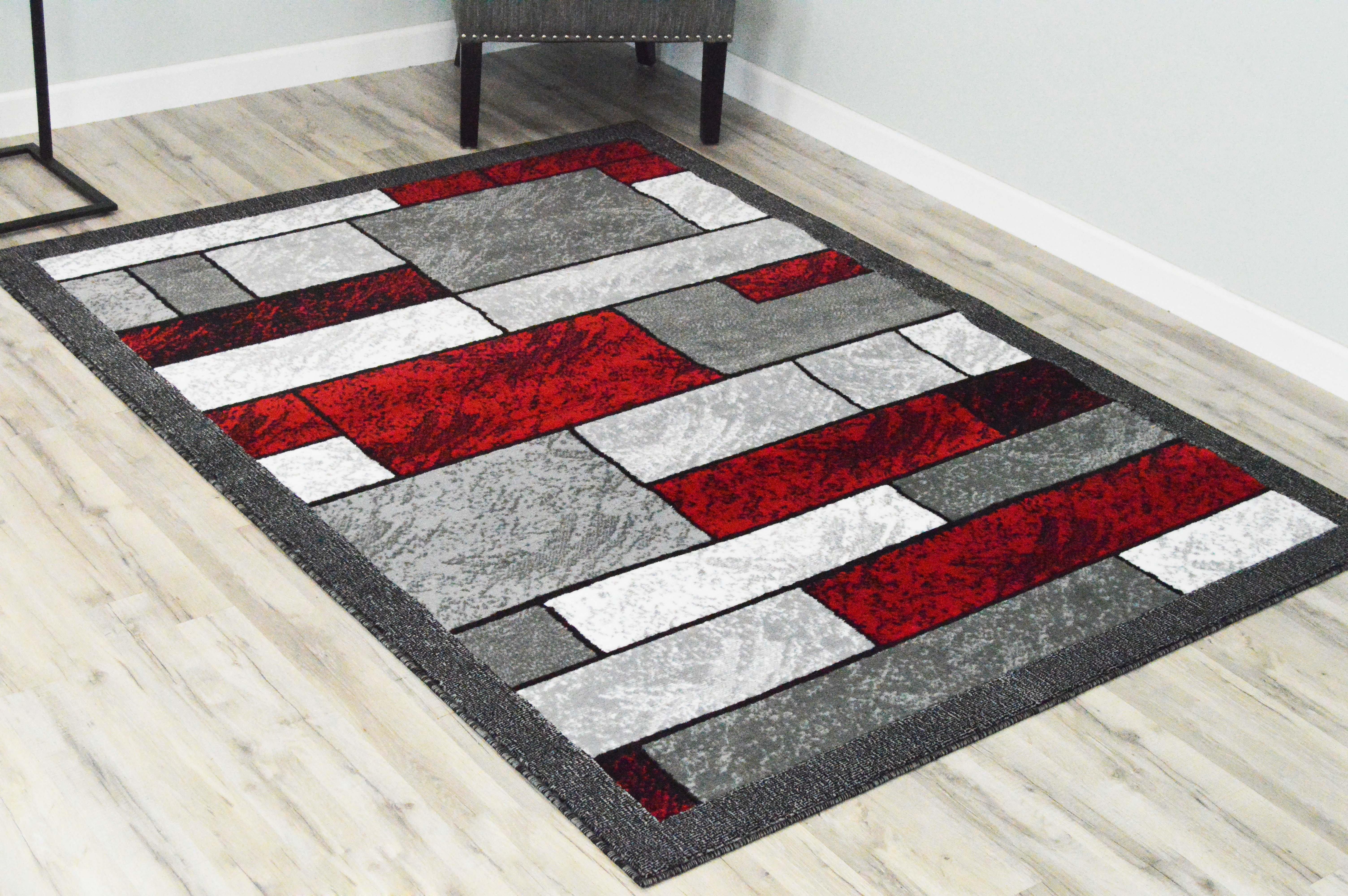 Latitude Run Adoraim Power Loom Red Gray Rug Reviews Wayfair