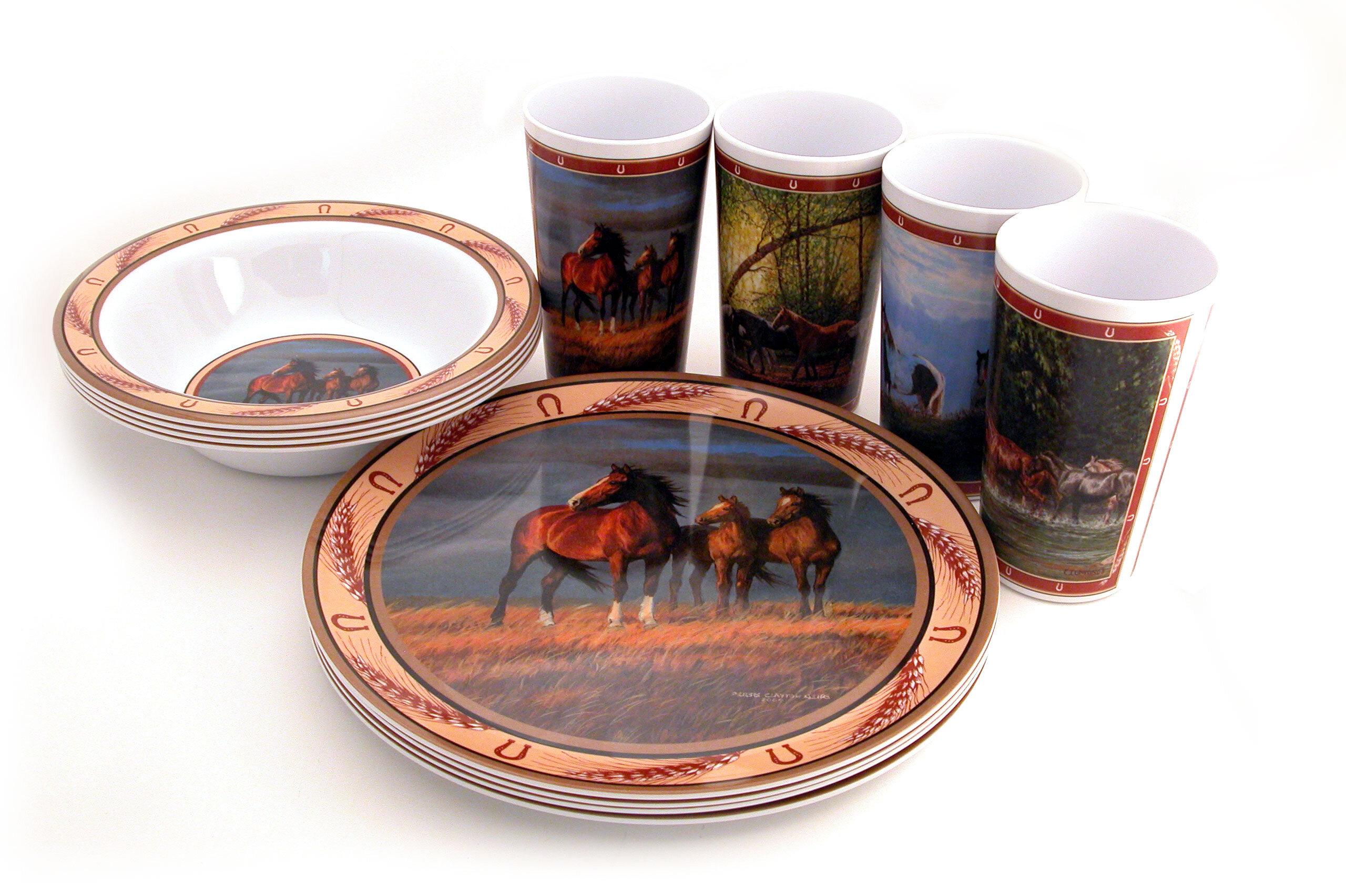 MotorHead Products Horse Melamine 12 Piece Dinnerware Set Service for 4 u0026 Reviews | Wayfair  sc 1 st  Wayfair & MotorHead Products Horse Melamine 12 Piece Dinnerware Set Service ...