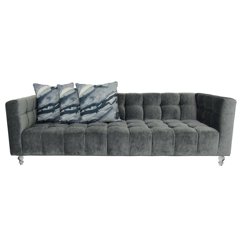 Modshop Delano Velvet 96 Wide Velvet Square Arm Sofa Perigold