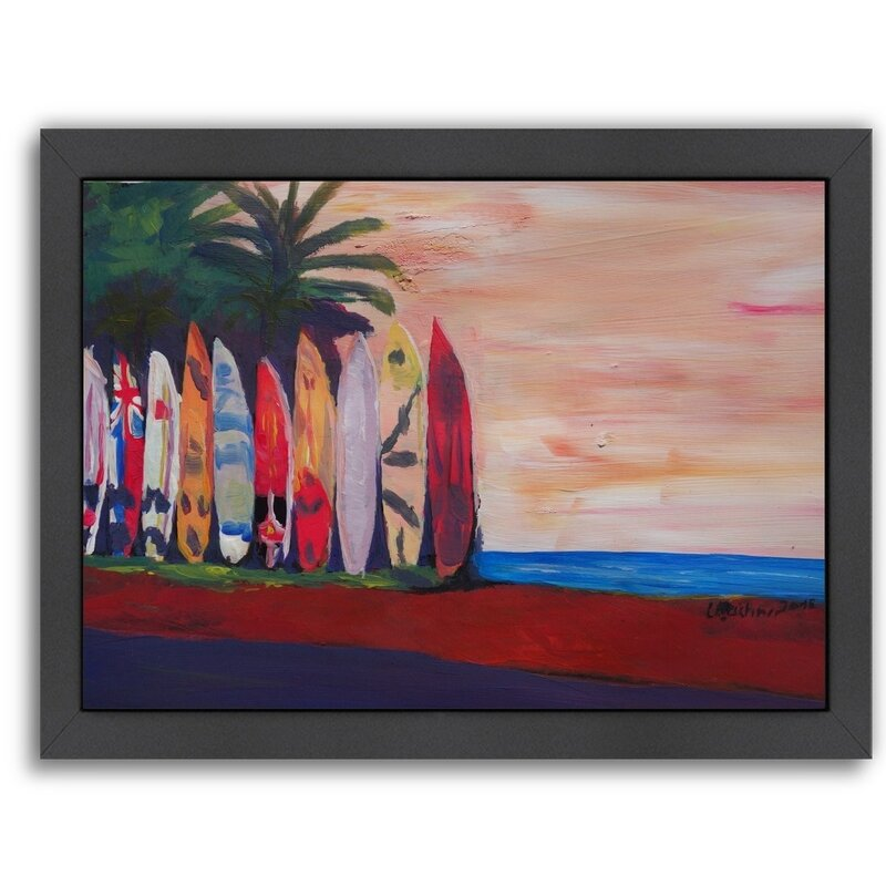 East Urban Home Surf Board Fence Wall At The Seaside Framed Painting Wayfair