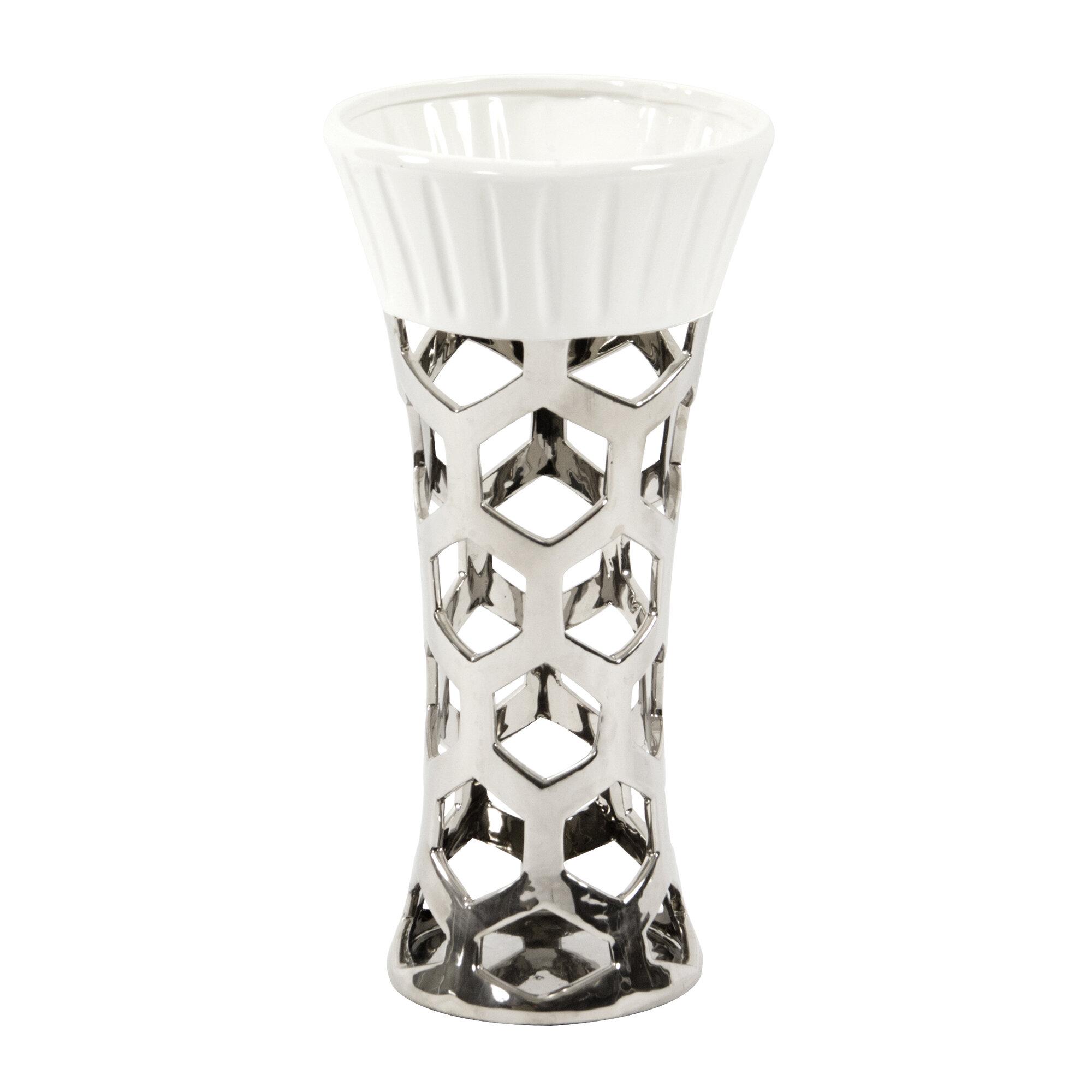 Orren Ellis Laverock Hexagon Cut Out Ceramic Table Vase Wayfair