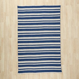 Comparison Pierce Hand-Woven Navy/White Area Rug ByBreakwater Bay