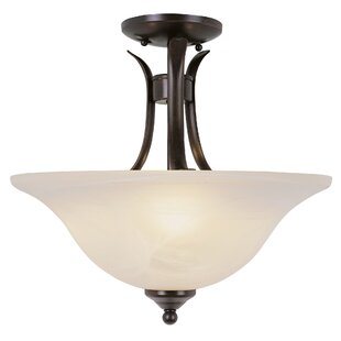 Comparison Burnell 2-Light Semi Flush Mount By Charlton Home